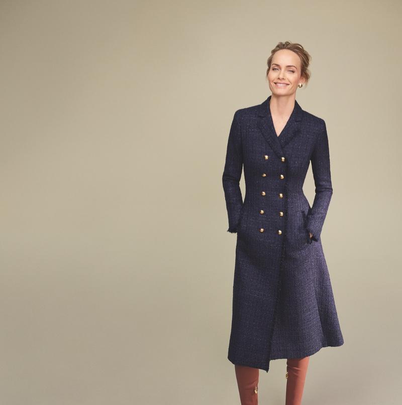 Amber Valletta wears navy coat in Escada fall-winter 2018 campaign