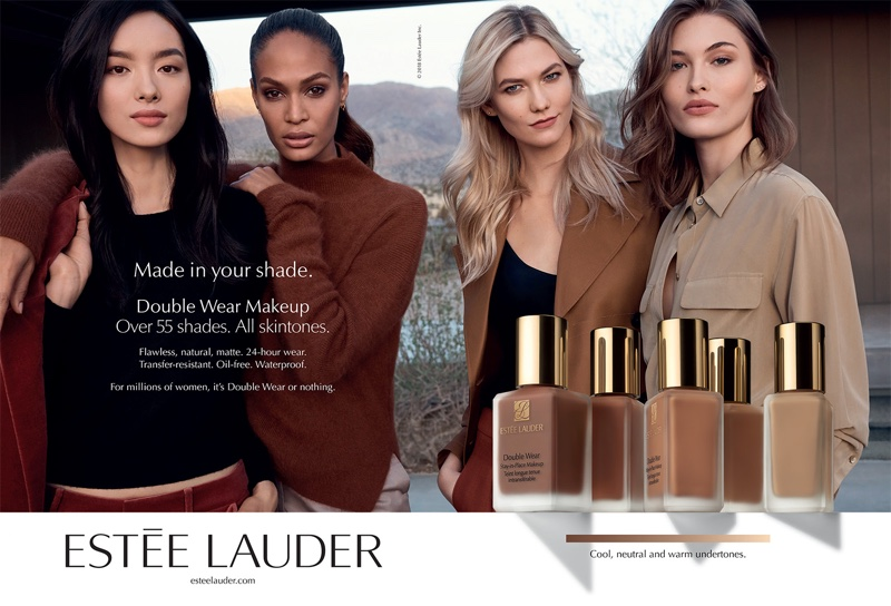 Fei Fei Sun, Joan Smalls, Karlie Kloss and Grace Elizabeth star in Estée Lauder Double Wear Makeup campaign