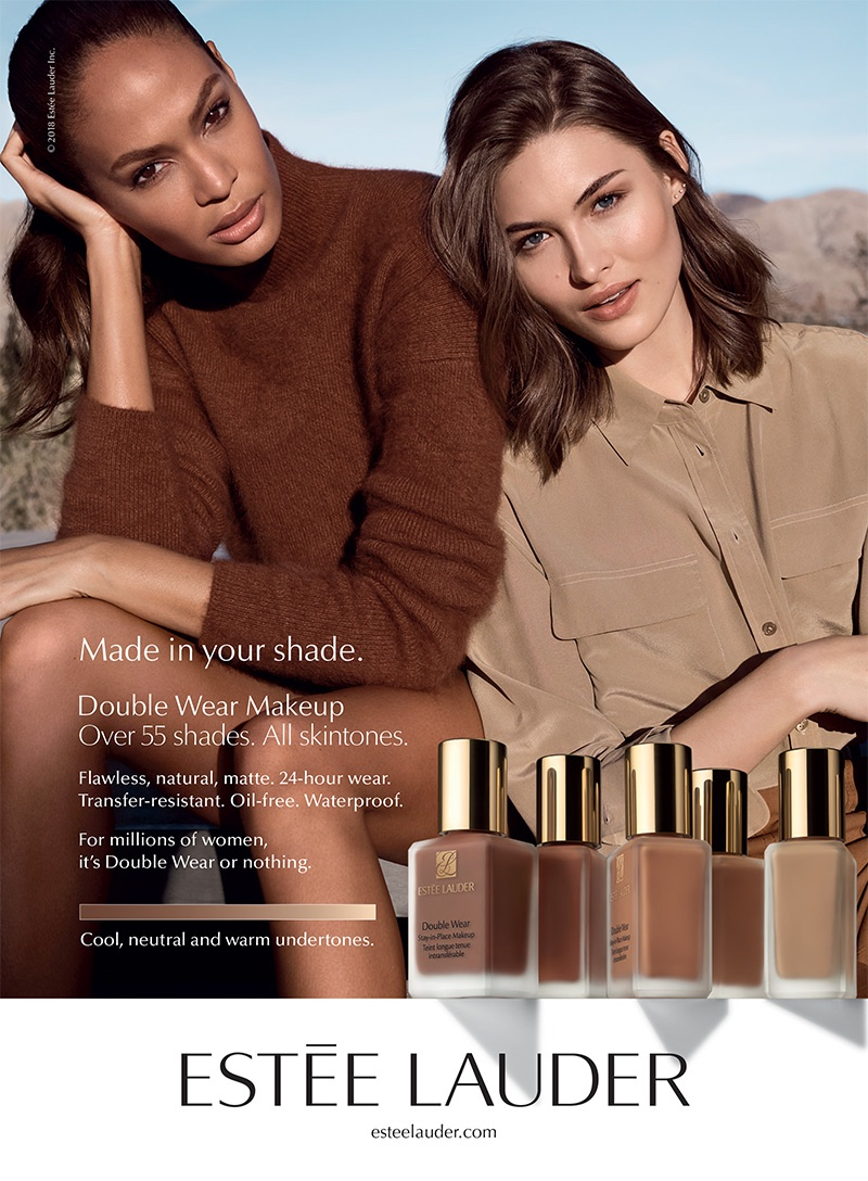 Joan Smalls and Grace Elizabeth front Estée Lauder Double Wear Makeup campaign