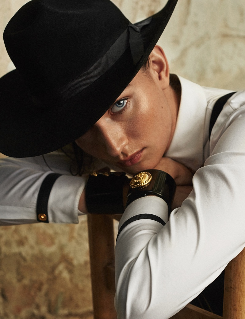 Evgenia Fedoseeva Models Western Fashion for ELLE Spain