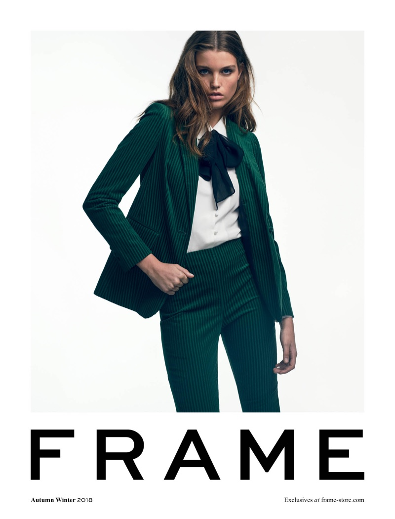 Luna Bijl suits up in FRAME fall-winter 2018 campaign