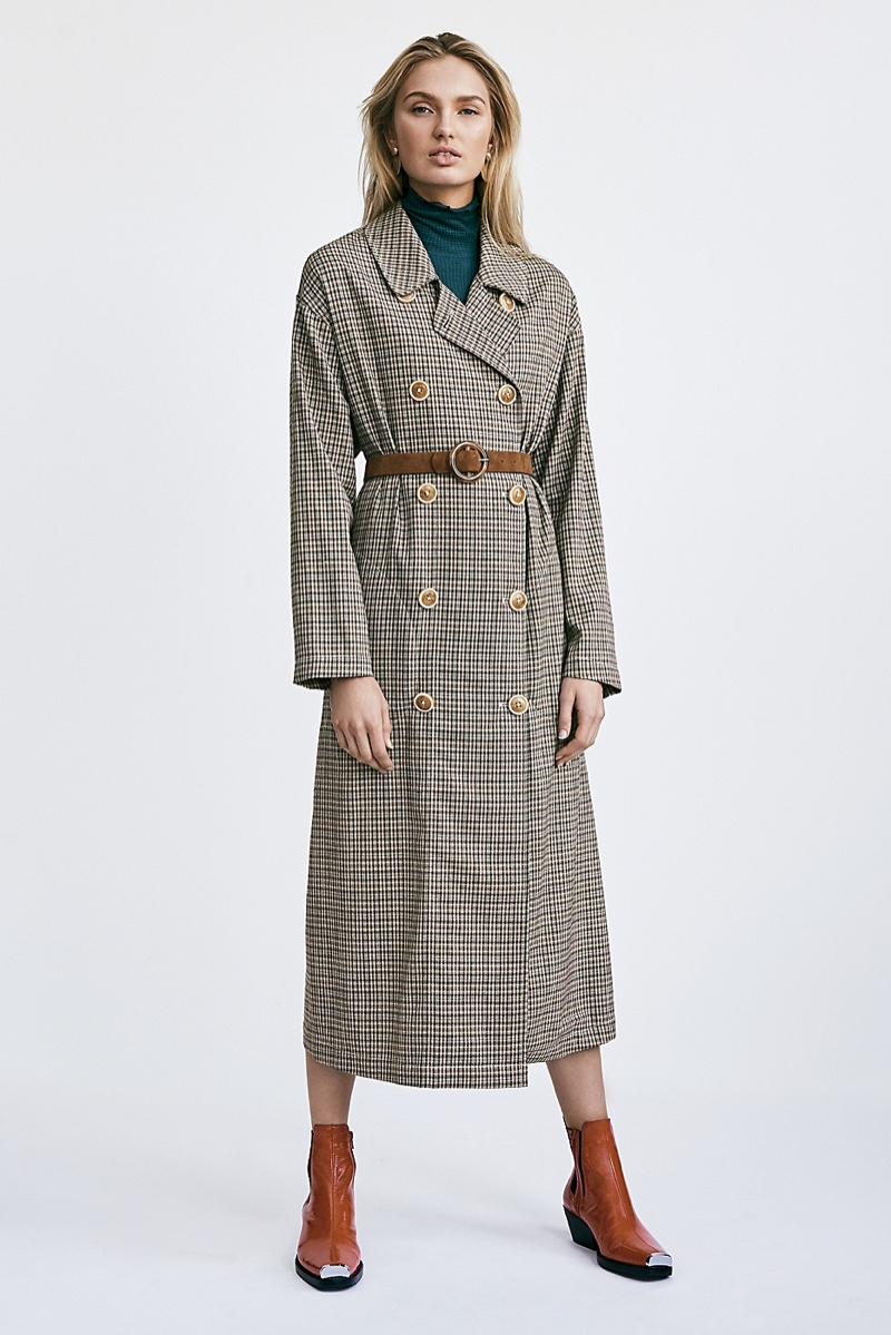 Free People Melody Plaid Trench Coat