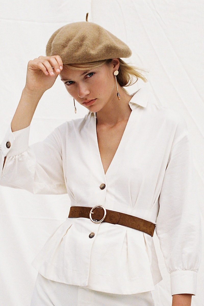 Free People Night Moves Top, Du Jour Beret and Audrey Suede Belt