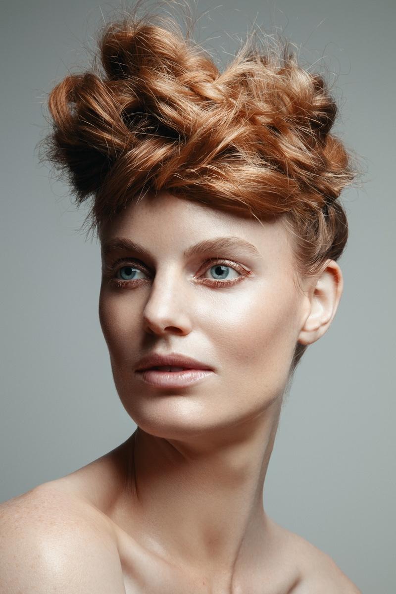 Georgie Wass models a chic updo hairstyle. Photo: Jeff Tse