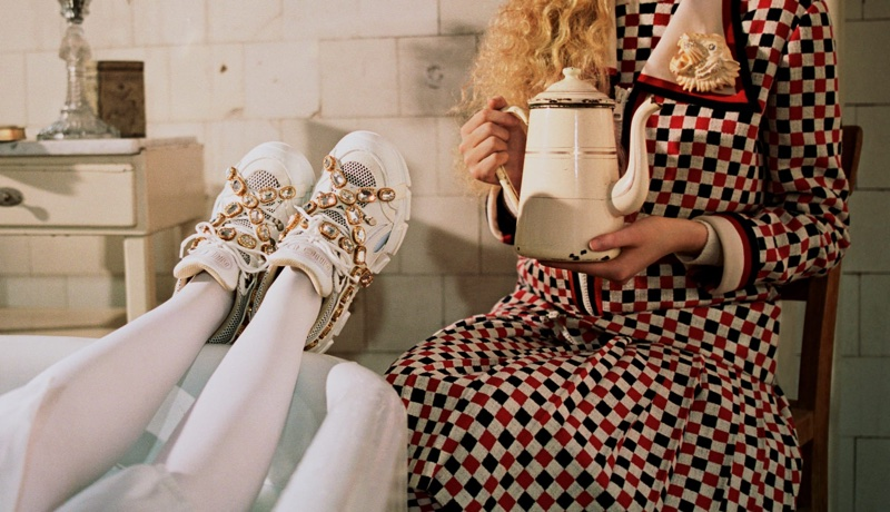 Bejeweled sneaker in Gucci fall-winter 2018 campaign