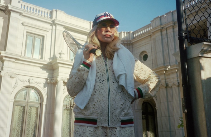Faye Dunaway poses in tracksuit for Gucci Sylvie campaign