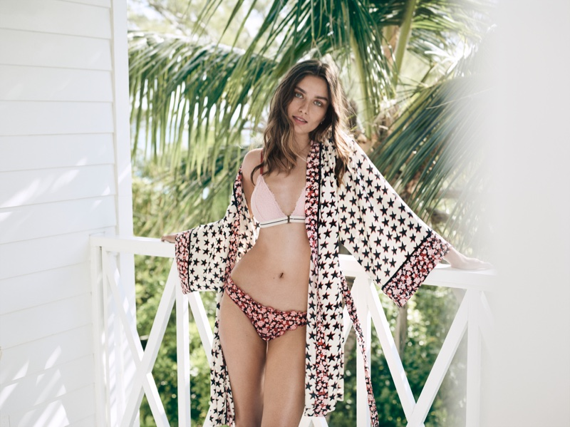 Andreea Diaconu wears kimono, bralette and briefs from H&M x Love Stories lingerie collection