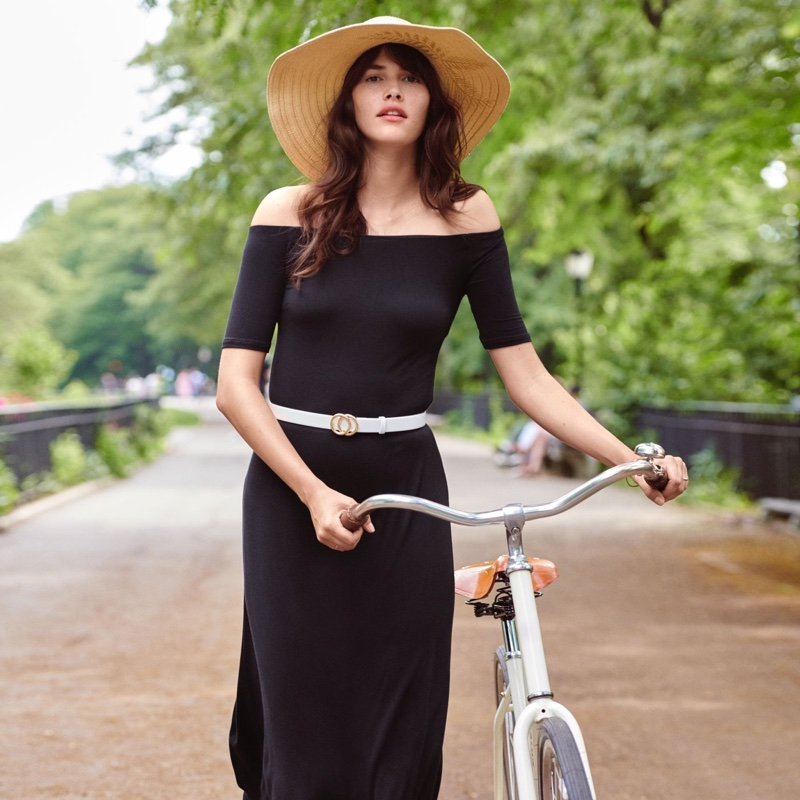 H&M Off-the-Shoulder Dress, Straw Hat with Embroidery and Narrow Belt