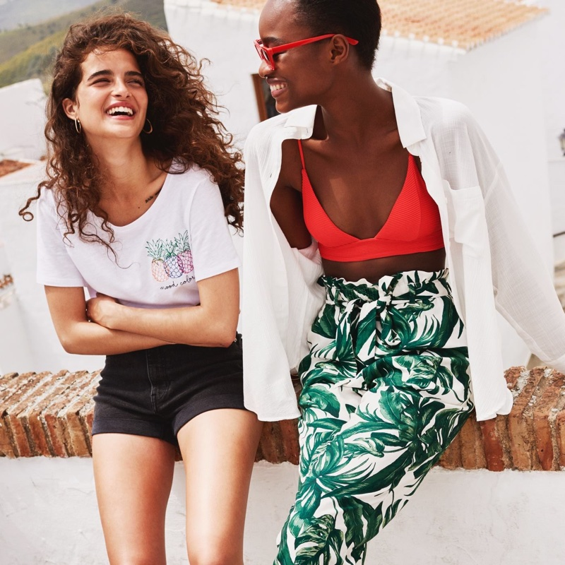 (Left) H&M T-Shirt with Motif (RIght) H&M Triangle Bikini Top and Paper-Bag Pants