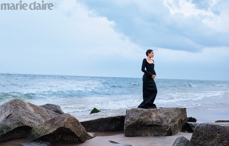 Singer Halsey poses in Saint Laurent dress