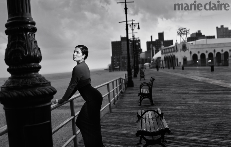 Photographed in black and white, Halsey poses in Marie Claire
