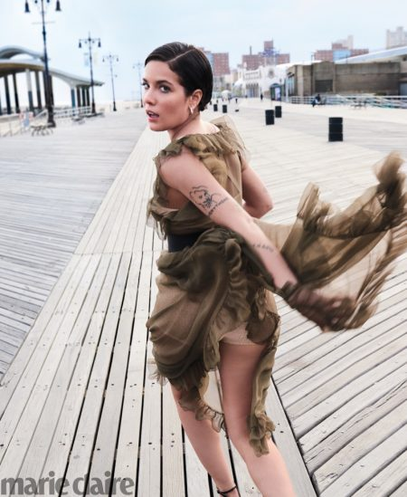 Halsey poses in Dior dress and Simon G. Jewelry earrings