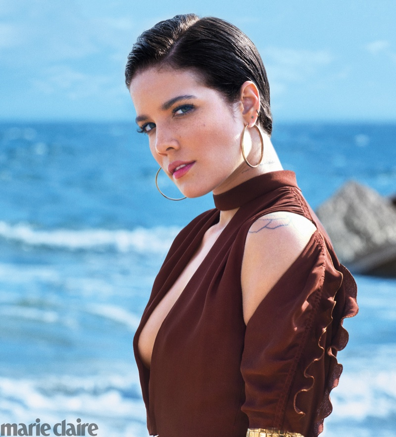 Singer Halsey wears Chloe dress with Cartier earrings