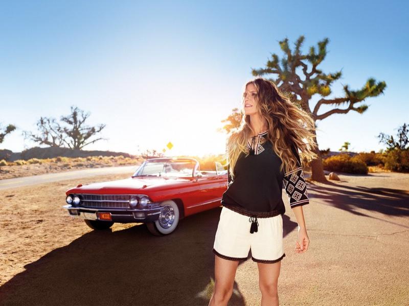Heidi Klum poses in boho style for Esmara by Heidi Klum summer 2018 campaign