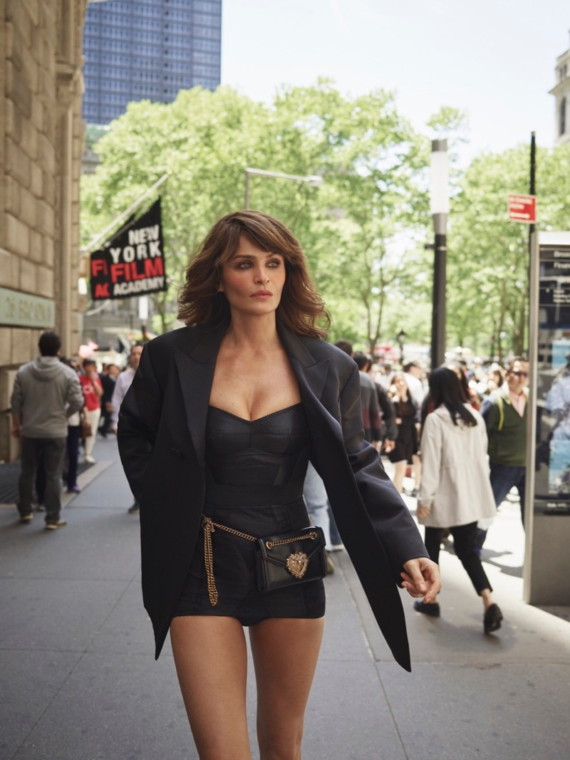 Helena Christensen Models Swimsuits in the City for InStyle