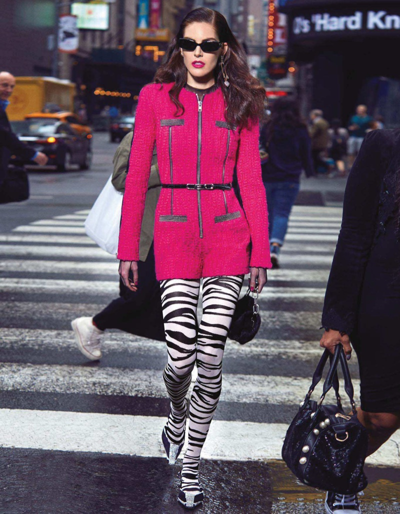 Hilary Rhoda Poses in Bold Outerwear for Vogue Japan