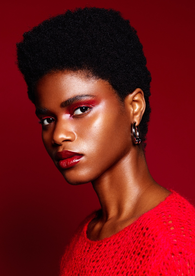 Imade Ogbewi Wears Red-Hot Beauty Looks for AI Creative