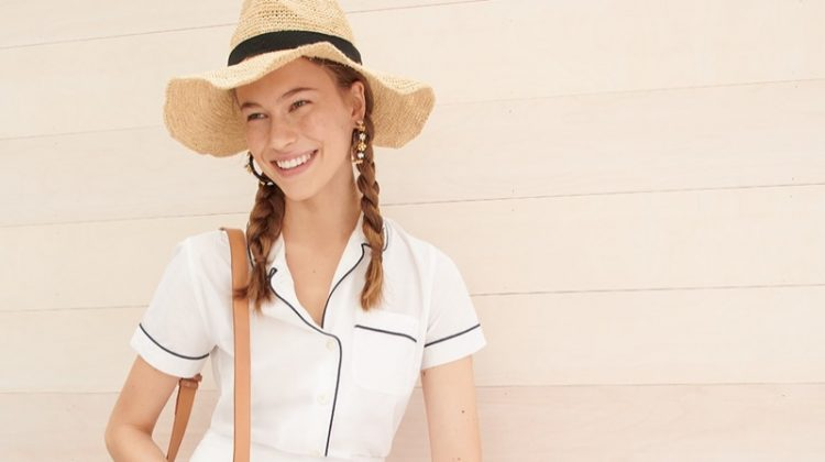 J. Crew Tiered Cotton Voile Mini Skirt, Lace-Up Espadrilles in Leopard, Flower Clock Hoop Earrings and Packable Straw Hat