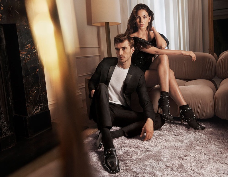 Lily Aldridge poses with Clement Chabernaud for Jimmy Choo fall-winter 2018 campaign