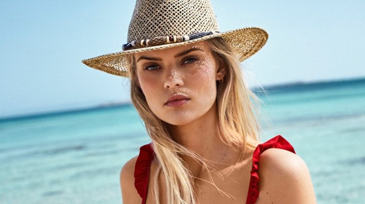 Kate Grigorieva Wears Calzedonia Swimsuits in Spanish Vogue