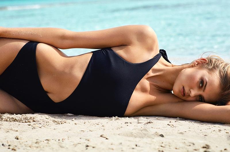 Kate Grigorieva Wears Calzedonia Swimsuits in Spanish Vogue