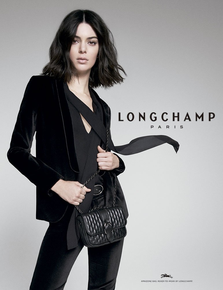 Kendall Jenner dresses in all black for Longchamp fall-winter 2018 campaign