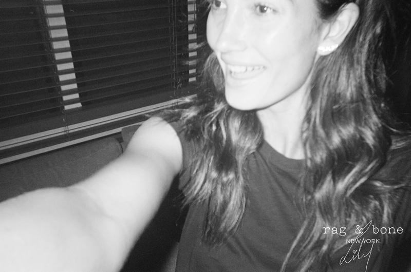Lily Aldridge takes a selfie for Rag & Bone DIY Project