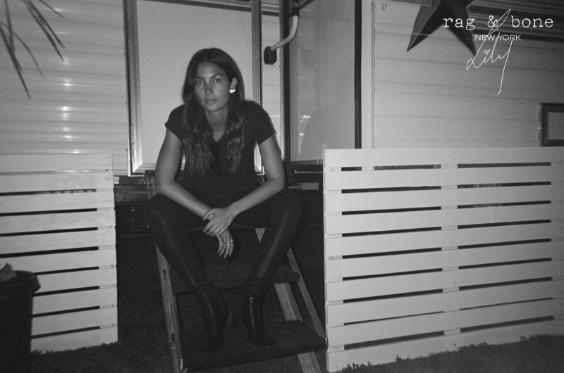 Model Lily Aldridge poses in denim look for Rag & Bone DIY Project