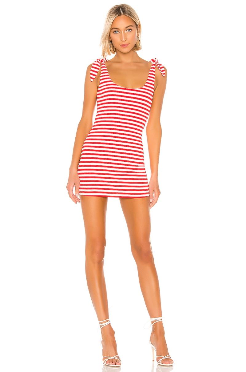 Lovers + Friends Mooney Mini Dress in Red/White Stripe $118