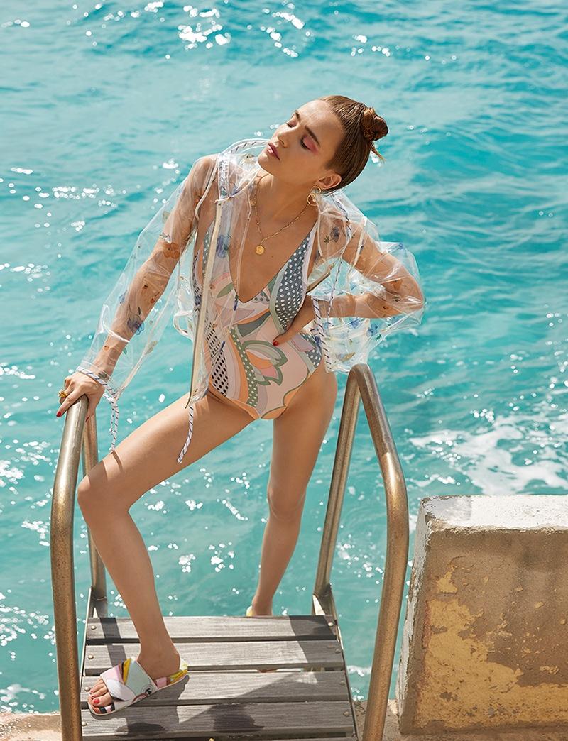 Lynn Palm Wears Retro Beach Fashion in Grazia Netherlands