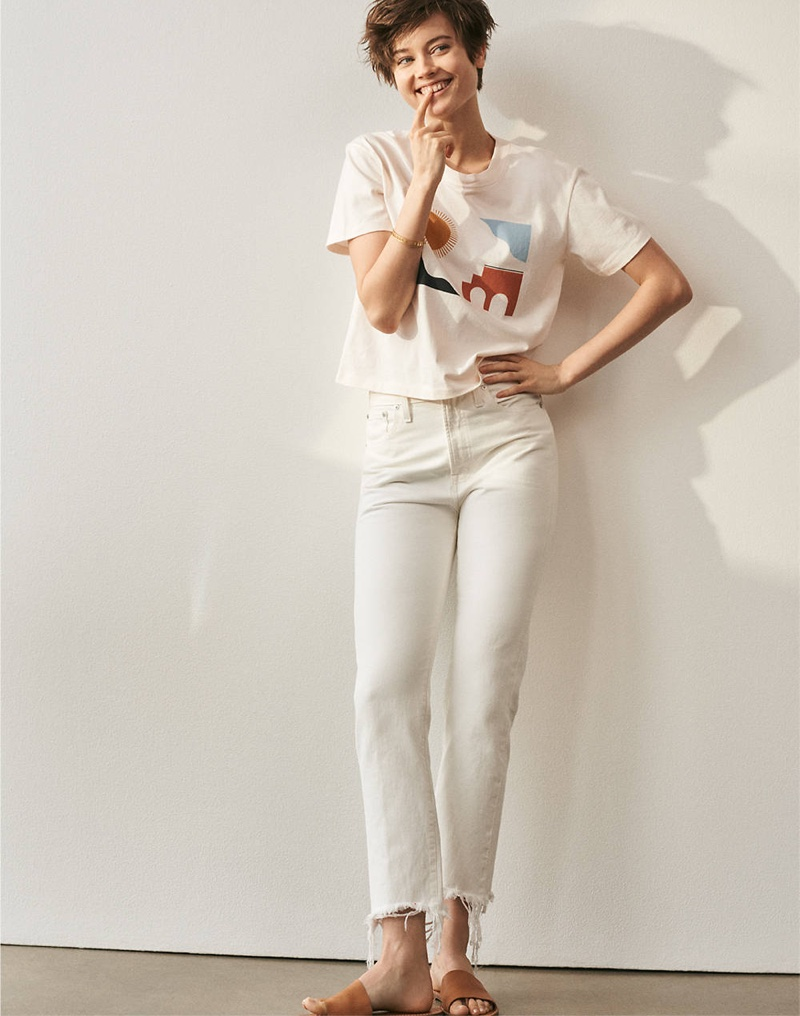 Madewell Barcelona Sun Graphic Tee, The Perfect Summer Jean in Tile White: Destructed-Hem Edition and The Boardwalk Post Slide Sandal
