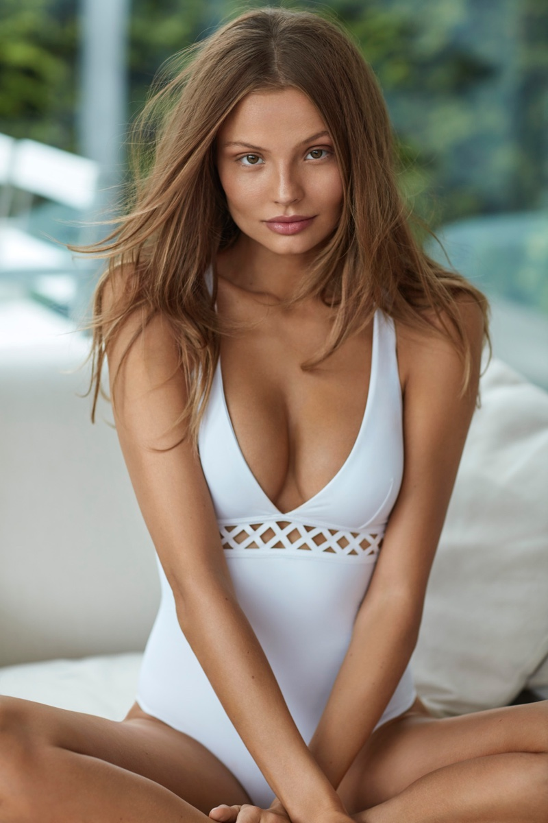 Magdalena Frackowiak poses in white one-piece for Mission Swim summer 2018 campaign
