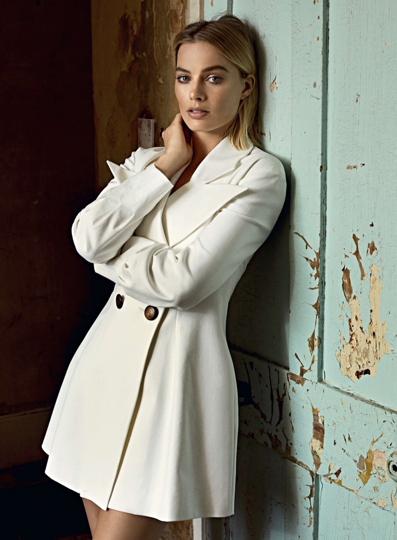 Actress Margot Robbie wears Rejina Pyo blazer