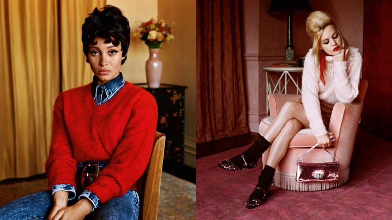 Adwoa Aboah and Georgia May Jagger front Miu Miu fall-winter 2018 campaign