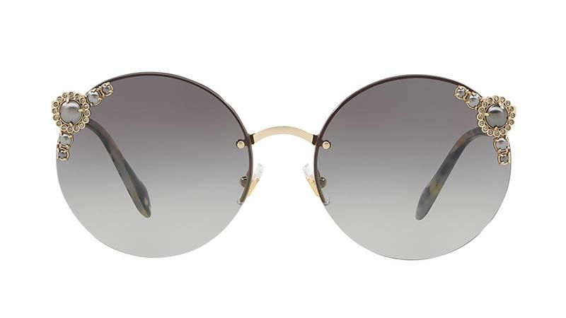 9c7ffe9e8f4c Miu Miu Manière Sunglasses with Pearls in Gold Grey  540