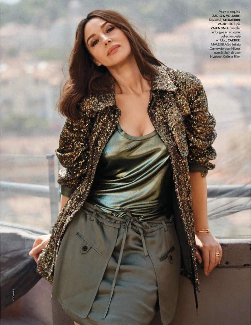 Actress Monica Bellucci poses in Zadig & Voltaire sequin jacket, Alexandre Vauthier top and Valentino skirt