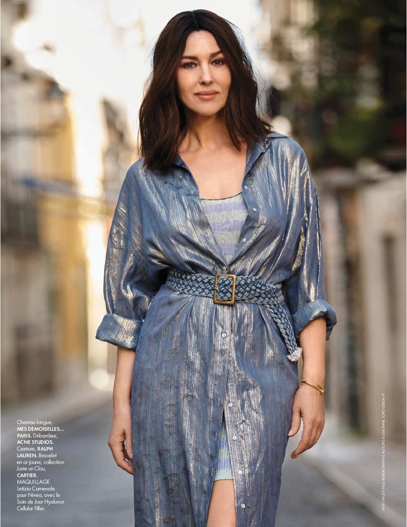 Actress Monica Bellucci wears Mes Demoiselles Paris coverup and Acne Studios knit