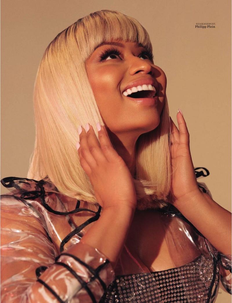 Flashing a smile, Nicki Minaj wears Philipp Plein look