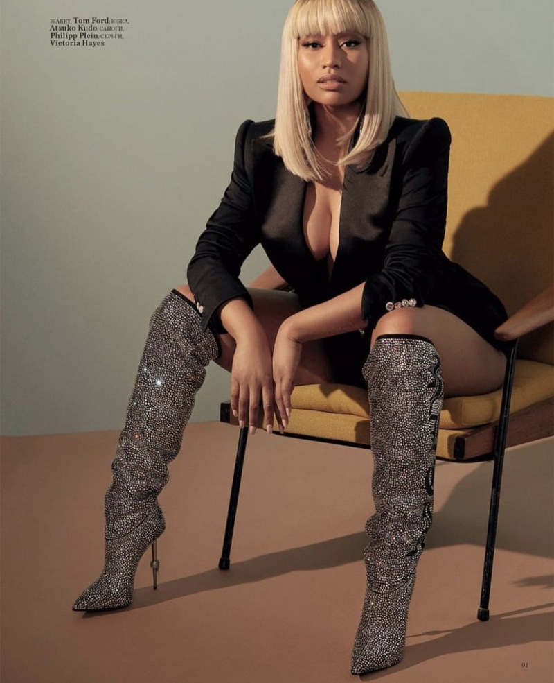 Nicki Minaj poses in crystal embellished boots
