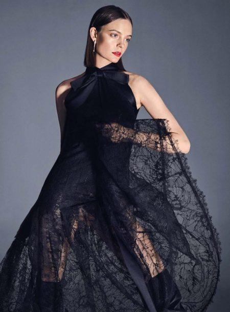 Nimue Smit Models All Black Looks for Harper's Bazaar Germany