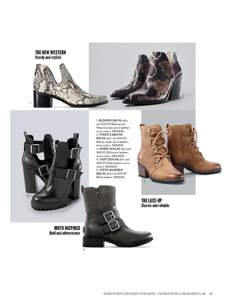 Blondo Snake-Print Leather Boots $99.90 (previously $149.95), Vince Camuto Mauve Snake-Print Leather Boots $99.90 (previously $149.95), Sorel Elk-Brown Leather Boots $124.90 (previously $189.95) UGG Slate Leather Boots $194.95 (previously $129.90) and Steve Madden Black Leather Boots $129.95 (previously $86.90)