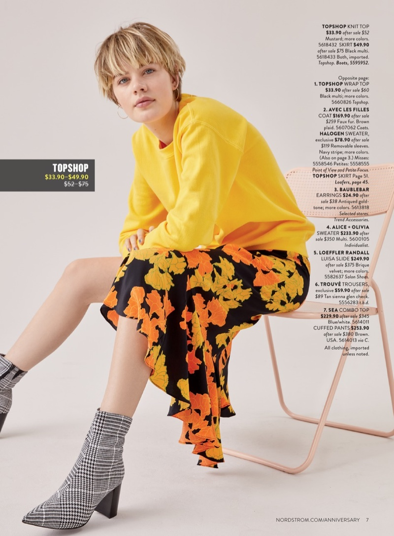 Topshop Longline Sweatshirt $33.90 (previously $52.99), Topshop Printed Midi Skirt $44.90 (previously $75.00) and Jeffrey Campbell Coma Stretch Bootie $82.90 (previously $124.95)