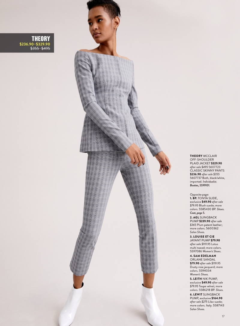 Theory 'McClair' Plaid Off the Shoulder Jacket $329.90 (previously $495.00), Theory McClair Plaid Straight Trousers $236.90 (previously $335.00) and Via Spiga Madilyn Pointy Toe Bootie $179.90 (previously $275.00)