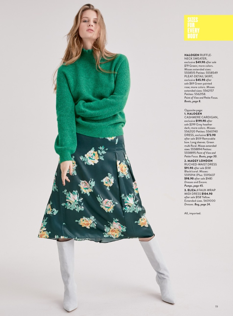 Halogen Ruffle Neck Sweater $49.90 (previously $79.00), Halogen Pleat Detail Midi Skirt $45.90 (previously $69.00) and Marc Fisher LTD Dacey Boot $179.90 (previously $278.95)