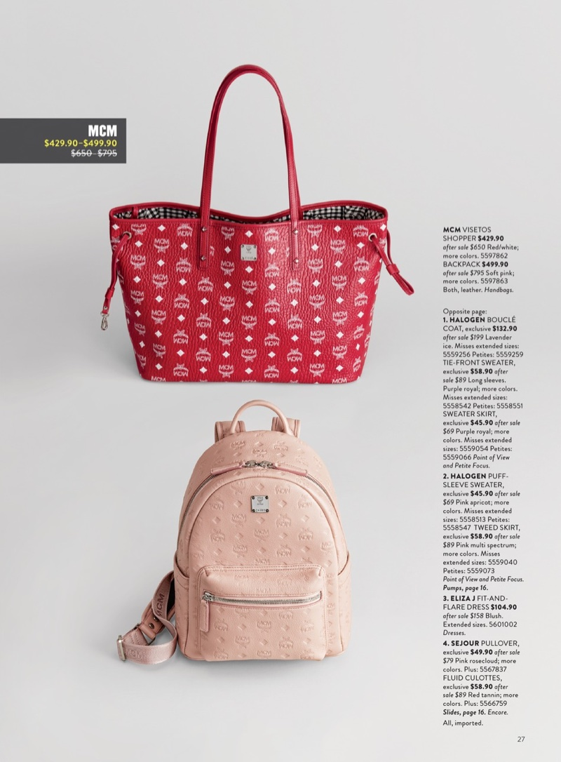 MCM Medium Liz Reversible Visetos Leather Shopper $429.90 (previously $650) and MCM Ottomar Leather Backpack $499.90 (previously $795.00)