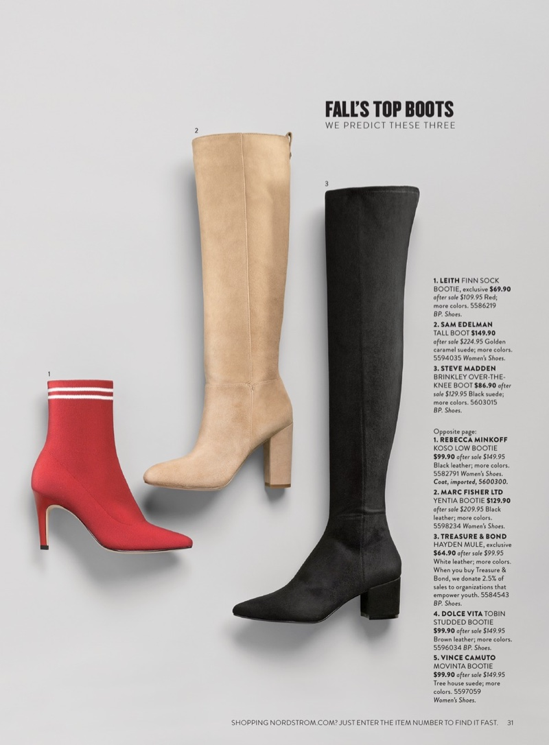 LEITH Sock Bootie $69.90 (previously $109.95), Sam Edelman Caprice Knee-High Boot $149.90 (previously $224.95) and Steve Madden Brinkley Over the Knee Stretch Boot $86.90 (previously $129.95)