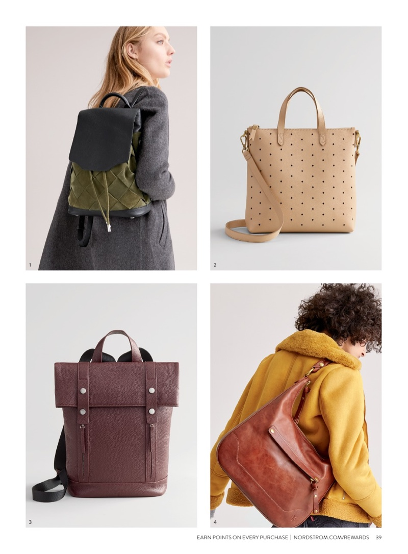 1. Rag & Bone Pilot Suede & Leather Backpack $464.90 (previously $695.00) 2. Madewell Mini Transport Perforated Leather Crossbody Bag $109.90 (previously $168.00) 3. Treasure & Bond Remy Pebbled Leather Backpack $132.90 (previously $199.00) 4. Frye Melissa Large Leather Hobo $265.90 (previously $398.00)
