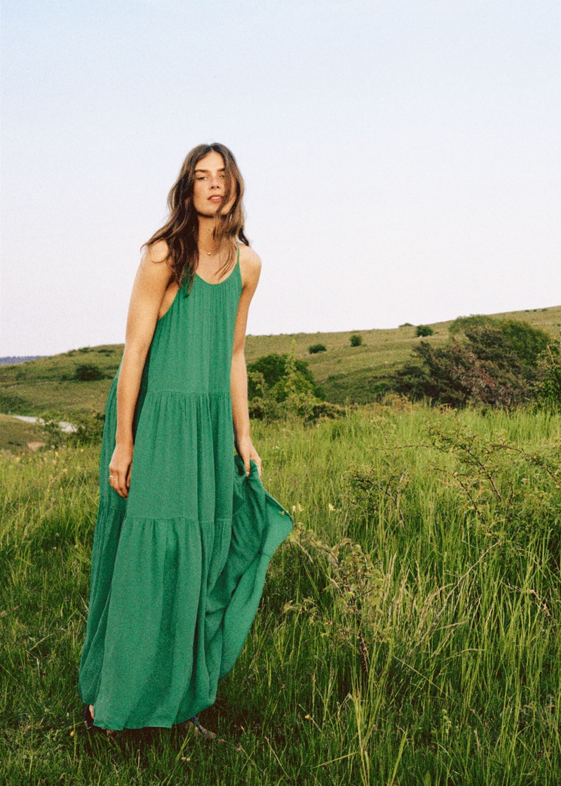 & Other Stories A-Line Pleated Maxi Dress