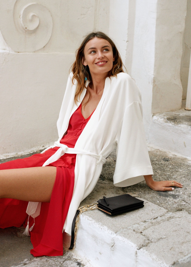 & Other Stories Embroidered Belted Kimono Jacket, Silk Camisole Top, Ruffle Wrap Midi Skirt and Short Chain Crossbody Bag