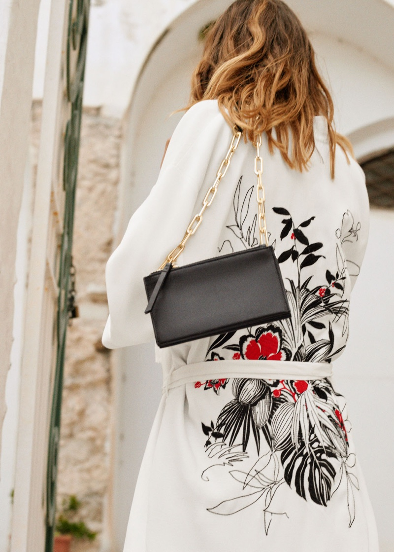 & Other Stories Embroidered Belted Kimono Jacket and Short Chain Crossbody Bag
